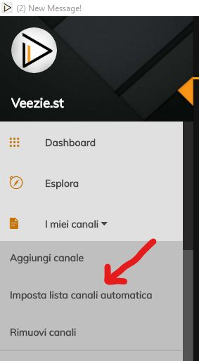 Veezie - impostare lista canali automatica