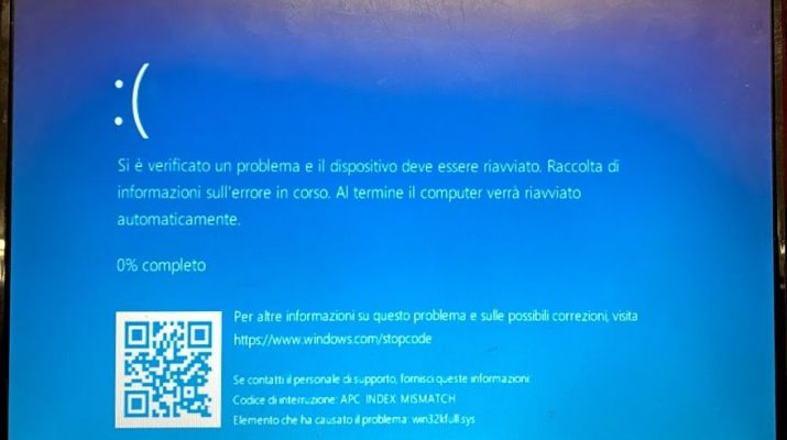 Si è verificato un problema ed il PC deve essere riavviato...APC INDEX MISMATCH win32kfull.sys
