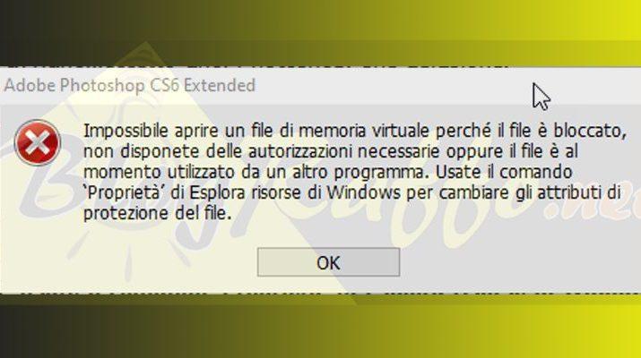 Errore Photoshop - Impossibile aprire un file di memoria virtuale perchè il file è bloccato